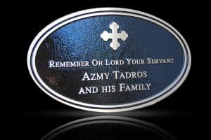 Custom Cast Bronze Memorial Plaque and Lawn Marker Tadros