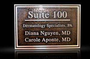 Custom & Personalized Bronze Address Plaque Dermatology