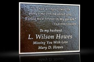 Custom Cast Bronze Memorial Plaque and Lawn Marker Howes