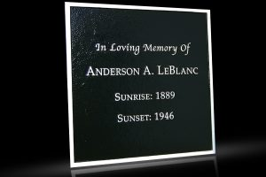 Custom Cast Bronze Memorial Plaque and Lawn Marker LeBlanc