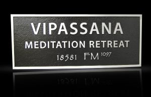 Architectural Solid Cast Aluminum Plaque Vipassana