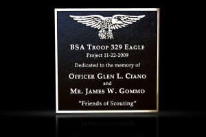 Custom Cast Bronze Memorial Plaque and Lawn Marker BSA Troop