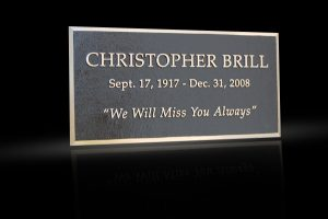Custom Cast Bronze Memorial Plaque and Lawn Marker Brill