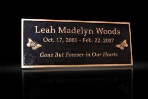 Custom Cast Bronze Memorial Plaque and Lawn Marker Woods