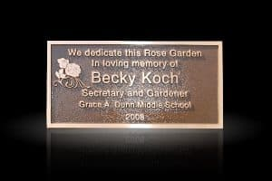 Cast Bronze Garden & Bench Plaque Koch