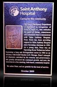 Embossed Cast Bronze Portrait Plaque Saint Anthony Hospital