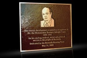 Cast Bronze Portrait Plaques with Metal Photo Cann