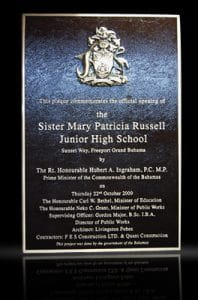 Personalized Cast Bronze Wall Plaques Russell Junior High School