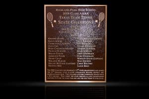 Personalized Cast Bronze Wall Plaque Texas Team Tennis State Champions
