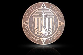 Cast Bronze Military Seal US Merchant Marines
